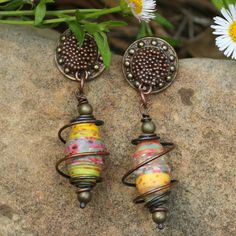 wrapped paper bead earrings sunflower copper by rocksandpaperswans, $25.00