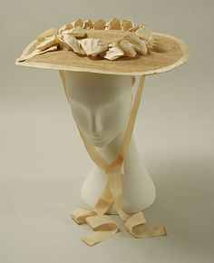 ~❀❀❀~Hat  Date: ca. 1760 Culture: British Medium: raffia, silk Dimensions: Diameter: 14 1/4 in. (36.2 cm)~❀❀❀~