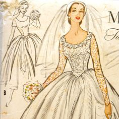 McCall's 9677 Misses 1950s Wedding Dress Pattern Bust 30 Basque Waist Full Skirt w/ Train Bridal Gown Long Sleeve Vintage Sewing Pattern. $33.75, via Etsy.