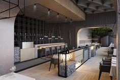Restaurant Concept by Gosho Studio & Cluj-Napoca – Romania Restaurant Hotel, Architecture Restaurant, Restaurant Concept, Restaurant Design, Restaurant Ideas, Bar Interior, Retail Interior, Interior Design Living Room, Interior Concept
