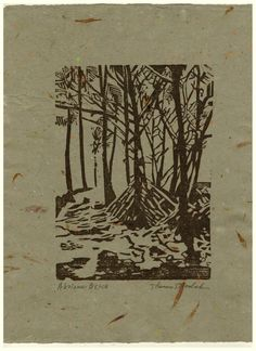 Ahalanui Beach original hand printed woodcut print on by printsnat