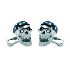 White Gold Pirate Skull Cufflinks