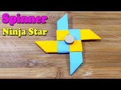 How to make a paper Fidget Spinner - Origami Ninja Star Fidget Spinner Video, Paper Fidget Spinner, Fidget Spinner Template, Paper Spinners, Figet Spinners, Paper Ninja Stars, Paper Stars, Cool Paper Crafts, Origami Stars