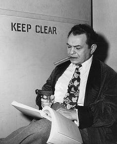 Edward G. Robinson behind the scenes of Key Largo, directed by John Huston, 1948