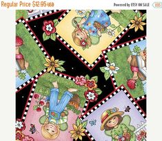 YEAR END SALE Mary Engelbreit~Mary's Fairies Big Patch Toss -Pink~Cotton Fabric by Quilting Treasures Fast Shipping,Ch229