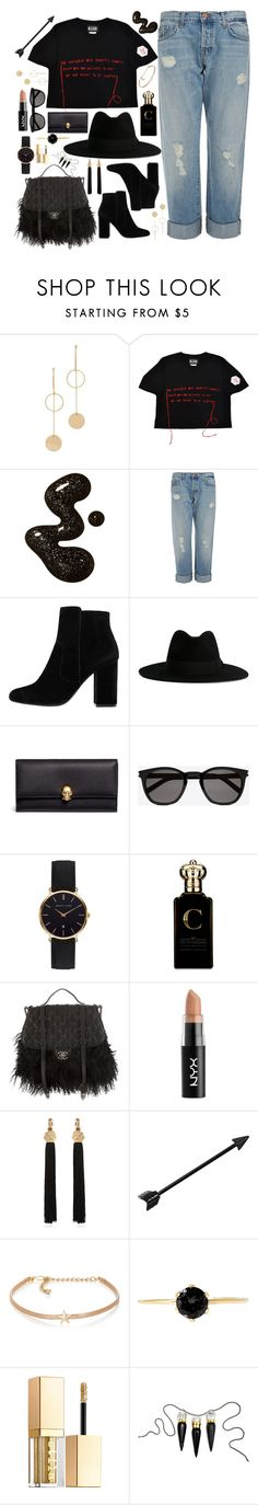 """Black fillers"" by erikapriscilla ❤ liked on Polyvore featuring Cloverpost, M.Y.O.B., J Brand, MANGO, Yves Saint Laurent, Alexander McQueen, Abbott Lyon, Clive Christian, Chanel and NYX"
