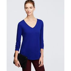 Ann Taylor V-Neck Long Sleeve Tee ($33) ❤ liked on Polyvore featuring tops, t-shirts, cobalt flame, long sleeve tee, blue long sleeve t shirt, longsleeve t shirts, vneck t shirts and layering tees