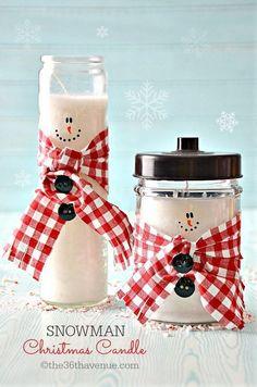DIY Cute Snowman Candles