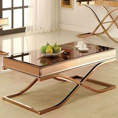 Chrome metal and glass gives this beautiful table a modern feel making it the perfect way to add a contemporary touch to your home. The rectangular table top is both elegant and functional and the t...