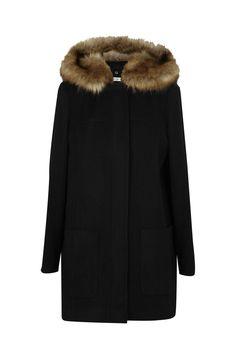 Manteau capuche fourrée noir - droits femme - naf naf