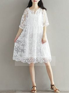 Women loose fit over size white lace flower embroidered dress tunic sling chic . - Women loose fit over size white lace flower embroidered dress tunic sling chic – women casual l - Wedding Dresses Plus Size, Trendy Dresses, Simple Dresses, Plus Size Dresses, Nice Dresses, Casual Dresses, Short Dresses, Casual Shoes, Simple Shoes