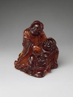 Buddhist Monks Hanshan and Shide: Chinese Qing dynasty (1644–1911)  Amber ~ 17th/18th century