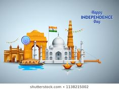 illustration of Famous Indian monument and Landmark for Happy Independence Day of India for Happy Independence Day of India Independence Day Wishes, Independence Day Decoration, Independence Day India, Diversity Poster, Unity In Diversity, Save Environment Posters, Monument In India, Student Of The Month, Republic Day India