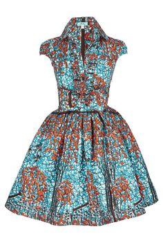 Image of Blue Birds Shirt Dress