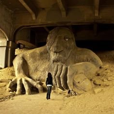 Troll under the Fremont Bridge ~ Seattle So there really IS a troll under the bridge? I knew it.