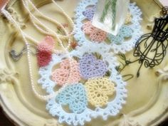"""Atelier   · handicraft sewing-knitting   knitting   How to make a doily """"happiness"""" of the Heart"""