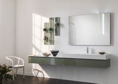 Monolite 2.0 - Composition AL 506 - Bathroom, Design, Bathroom's furnishings, LED lighting mirrors, Mirrors, Bathroom accessories, Made in italy, Florence, Hotel's project