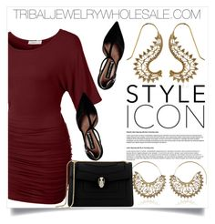 """TRIBALJEWELRYWHOLESALE.COM 19"" by amra-mak ❤ liked on Polyvore featuring LE3NO, Steve Madden, Bulgari and tribaljewelrywholesale"