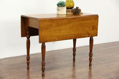 Tiger or Curly Maple Antique 1840 Dropleaf Breakfast or Sofa Table, New England White Sofa Table, Long Sofa Table, Modern Sofa Table, Sofa Tables, Dining Table, Coffee And End Tables, Coffee Table With Storage, Antique Sofa, Antique Furniture