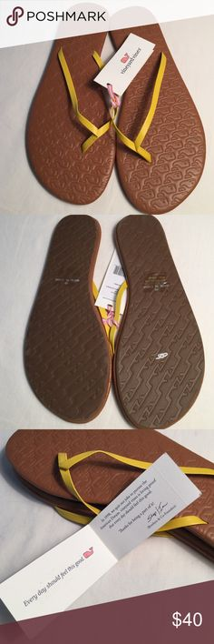 Vineyard vines Women's flip flops, size 10, NWT🐳 We'll be so ready for Spring & Summer with these sunny, happy, showing-off-new-pedicure-flip flops! Official style name: Embossed Lea Whale, Color: sun shower☀️🌨☀️ Vineyard Vines Shoes