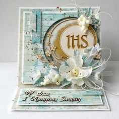 First Communion Cards, Diy And Crafts, Paper Crafts, Baptism Gifts, Die Cut Cards, Creative Cards, Cute Cards, Vintage Cards, Christening