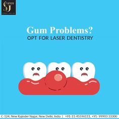 Gum Problems? Opt for Laser Dentistry for minimum pain and maximum results. The technique is used to treat various dental problems. Laser Dentistry minimizes bleeding and thus reduces the bacterial infections also.  Contact Sarayu Clinics today to get detailed information about the technique. Call @ +91 11 455 96 111, +91 99903 33300. Laser Dentistry, Dental Problems, Bacterial Infection, Oral Hygiene, Clinic, Education, Onderwijs, Learning