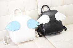 """Comes with three pairs of wings each bag! You can switch the wings~ White comes with pink, yellow, light blue wings Black comes with white, dark blue, and rose wings  Size :  Width: 25cm  Height: 30cm  Bottom Thickness: 8cm  Strap length: 80cm (removable)   <a href=""""http://imageshack.u..."""