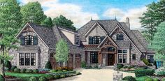 Ellington Estate – Stephen Davis Home Designs Tudor Style Homes, Ranch Style Homes, Tudor Homes, French Country House Plans, Country Farmhouse Decor, Country Kitchen, Lake House Plans, Dream House Plans, Style At Home