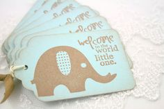 Baby Boy Gift Tags - Vintage Elephant - Welcome to the World Baby Shower Favor Tags. $5.95, via Etsy.