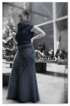 Flamenco belly dance steam punk cosplay all ruffle blue skirt by ScheherazadeBanoo, $112.00