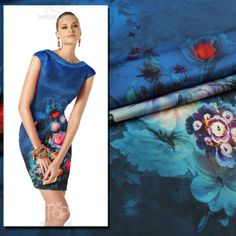 Fashion elastic silk crepe satin blue oil painting digital print wide fabric $64.00