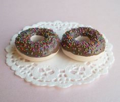 Chocolate Donut Set of 2 Playset with White Doily Perfect for 18 Inch American Girl® Dolls