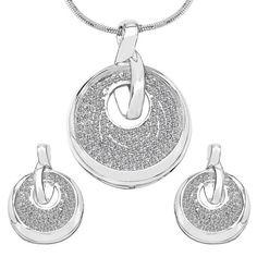 CZ Studded Brass Pendant, Earrings Set with Chain #pokemongonews #jewelryforsale #love #luxury