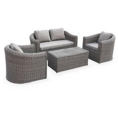 Salon de jardin 7 places : canapé d\'angle + 2 poufs + table à ...