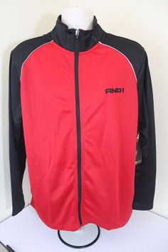 AND 1 men pants and jacket set black/red (L) Large polyester new full zip #AND1 #Pants
