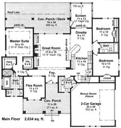 Favorite layout so far!, 3 bedroom, flex room AND bonus room (big, 552 sq. ft) beautiful porch AND screened in porch (love) along with a lot of windows facing the back. Consider shrinking porch size and increasing great room, MB and Kids r Craftsman Cottage, Craftsman Style House Plans, Country House Plans, Flex Room, Murphy Bed Plans, Ranch Style Homes, Up House, House Pics, Guest Suite