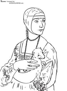 Click to see printable version of Lady With An Ermine By Leonardo Da Vinci coloring page