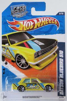 2010 Hot Wheels Nightburnerz # 97 Datsun Bluebird 510 Yellow 5/10