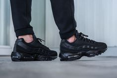 "Nike Air Max 95 ""Triple Black"" Available Now Running Sneakers, Running Shoes For Men, Air Max Sneakers, Sneakers Nike, Mens Running, Sneakers Design, Air Max 95, Nike Free Shoes, Nike Shoes"