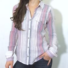 ROXY pastel candy striped button down dress shirt Worn once. Very cute. Made of a light gauzy fabric. Roxy Tops
