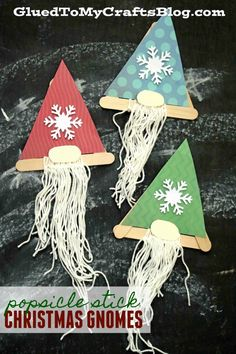 Popsicle Stick Christmas Gnomes – Kid Craft - Popsicle Stick Bearded Gnome Craft Idea For Kids Preschool Christmas, Christmas Gnome, Christmas Projects, Kids Christmas, Christmas Ornaments, Crafts For Teens To Make, Winter Crafts For Kids, Winter Kids, Spring Crafts