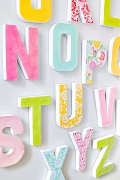 Make a Big Impact in your Home Decor with these DIY Wall Letters! These decorative paper mache or wood letters are easy to customize for your gallery wall, office, nursery, or playroom. Letter Wall Decor, Kids Wall Decor, Diy Wall Art, Nursery Wall Art, Decorative Letters For Wall, Wood Nursery, Room Decor, Woodland Nursery, Letters For Kids