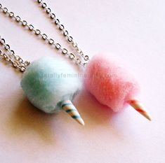 Carnival Cotton Candy Necklace  Pink Blue by FatallyFeminine