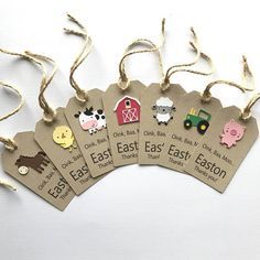 1 doz custom barnyard animals gift tags, perfect addition to your next barnyard themed birthday party. Please leave choice of wording in notes section during check out Size: looking for more farm party decor? Cow Birthday, Farm Animal Birthday, Birthday Favors, Boy Birthday Parties, Tractor Birthday, Birthday Ideas, Farm Themed Party, Barnyard Party, Farm Party Favors