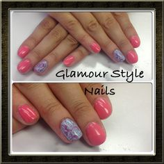 Cute and Girly marbled accent nail.
