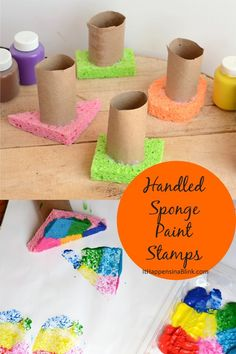 Handled Sponge Paint Stamps  #sponsored - prevent messy hands when sponge painting with these sponge stamps with handles