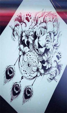 Lion dreamcatcher drawing