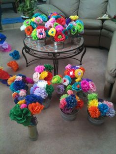 We had all Mexican paper flowers- no real flowers- in our wedding. A lot cheaper, bright, beautiful, and they last forever!