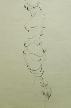 Female Figure drawing using compressed charcoal and minimal lines...by Derek Gundy, Drawing Instructor at Artists' Edge