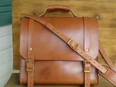 Hand Stitched Bridle Leather Messenger Bag / Briefcase /